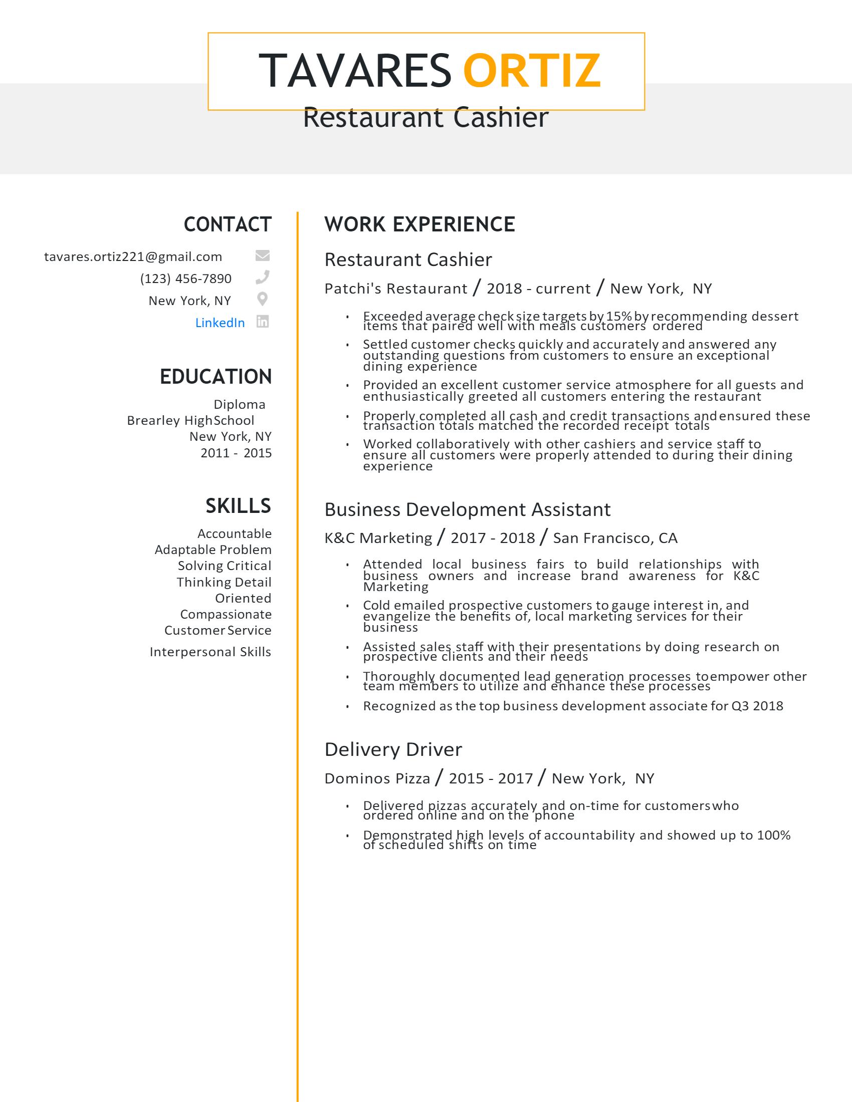 Restaurant Cashier Resume