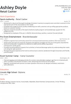 Retail Cashier Resume .Docx (Word)