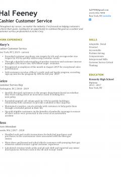 Cashier Customer Service Resume .Docx (Word)