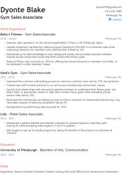 Gym Sales Associate Resume