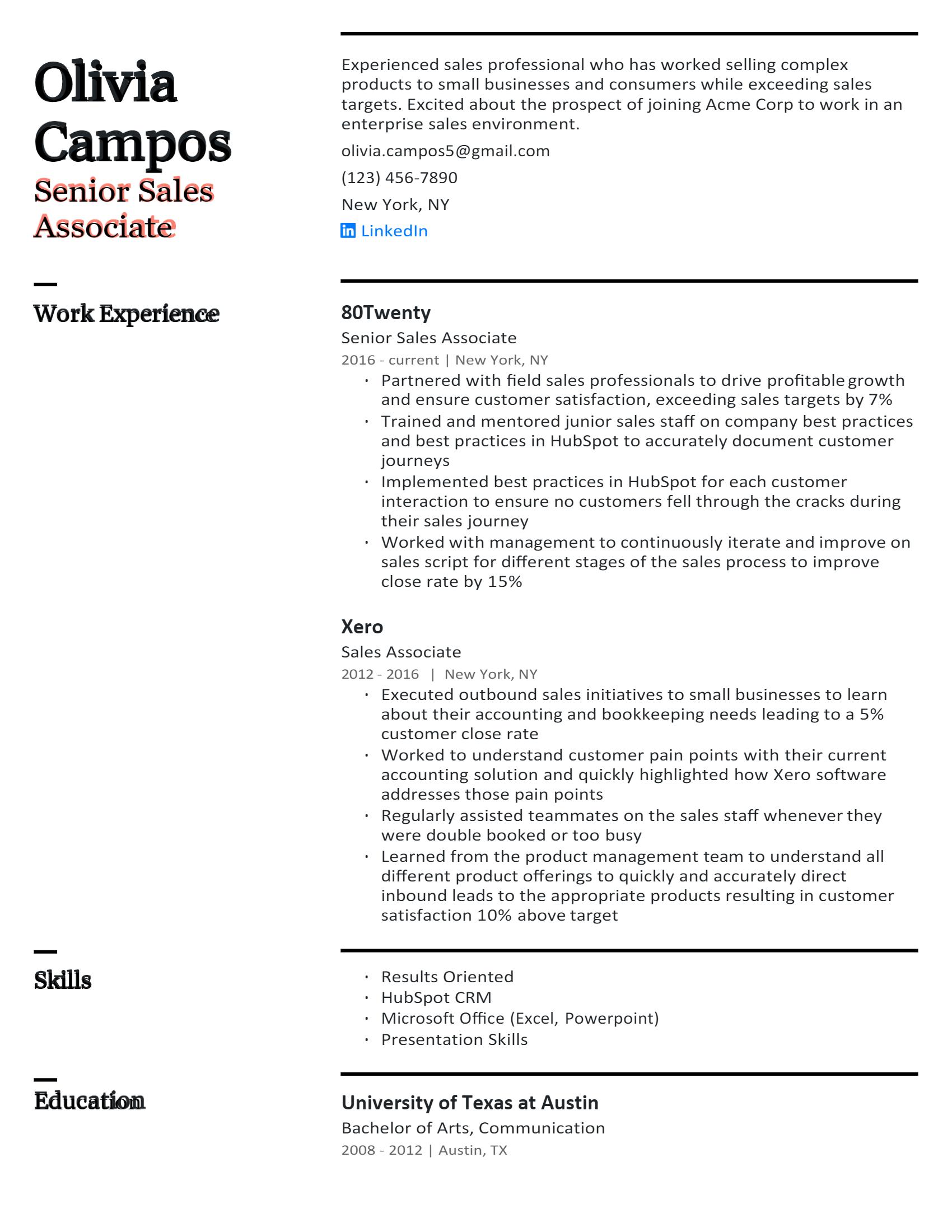 Senior Sales Associate Resume