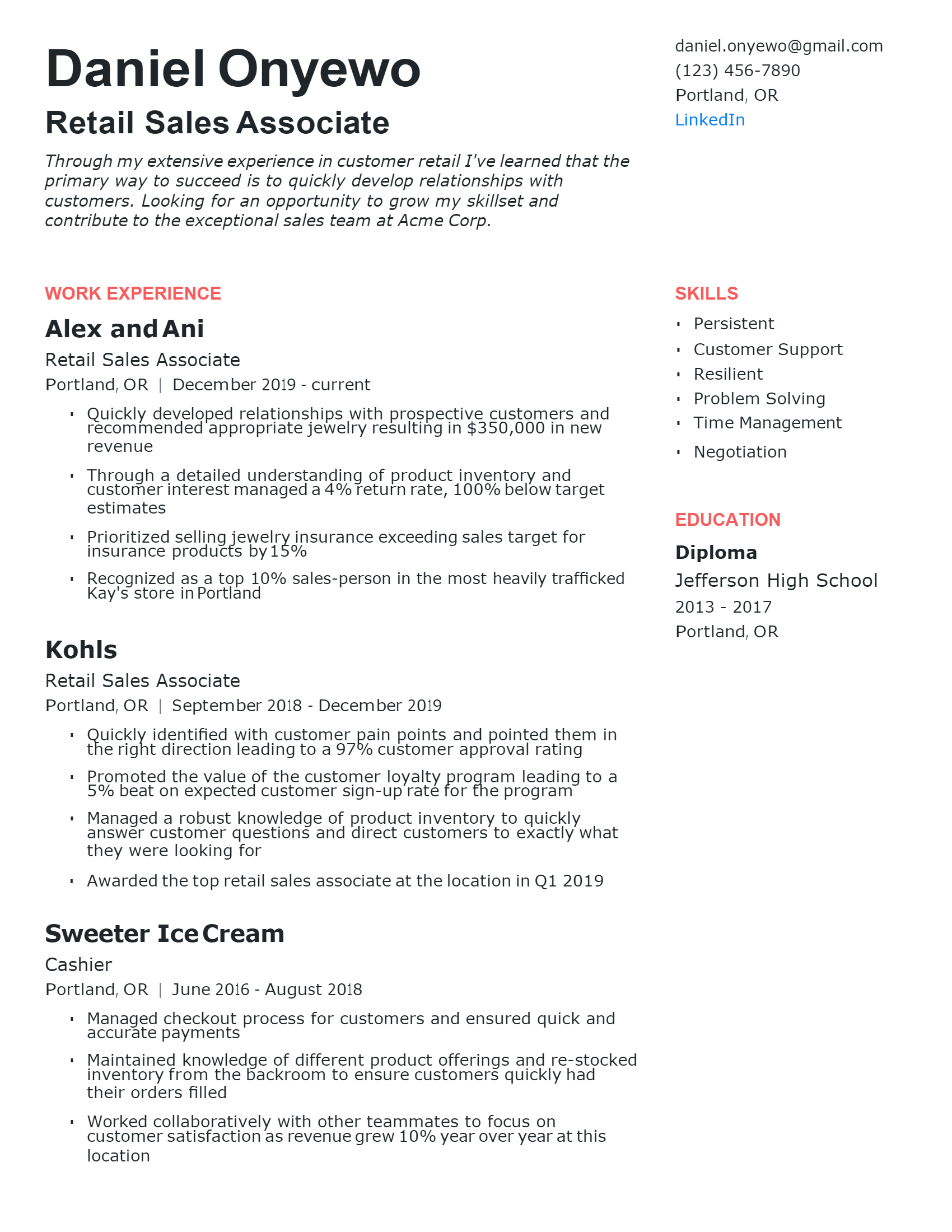 Retail Sales Associate Resume