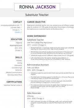Substitute Teacher Resume .Docx (Word)