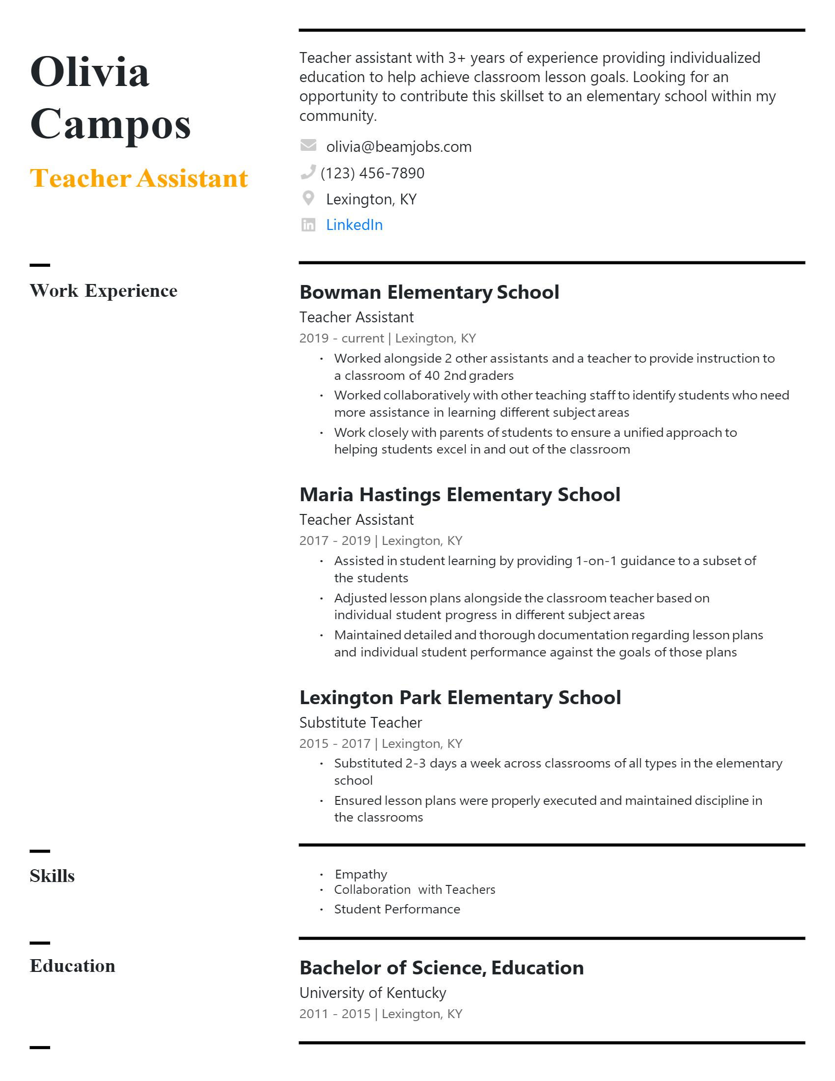 Teacher Assistant Resume .Docx (Word)