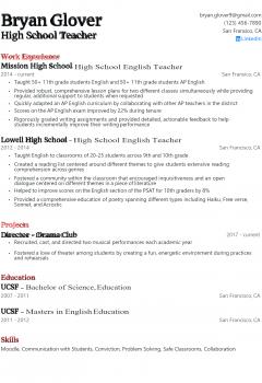 High School Teacher Resume .Docx (Word)