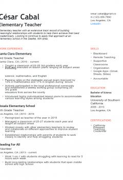 Elementary Teacher Resume .Docx (Word)