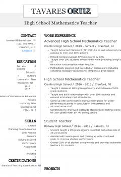 Teacher Resume .Docx (Word)