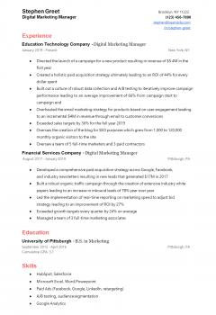 Digital Marketing Manager Resume .Docx (Word)