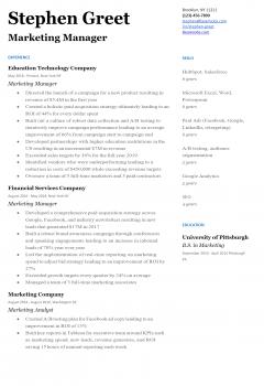 Marketing Manager Resume .Docx (Word)