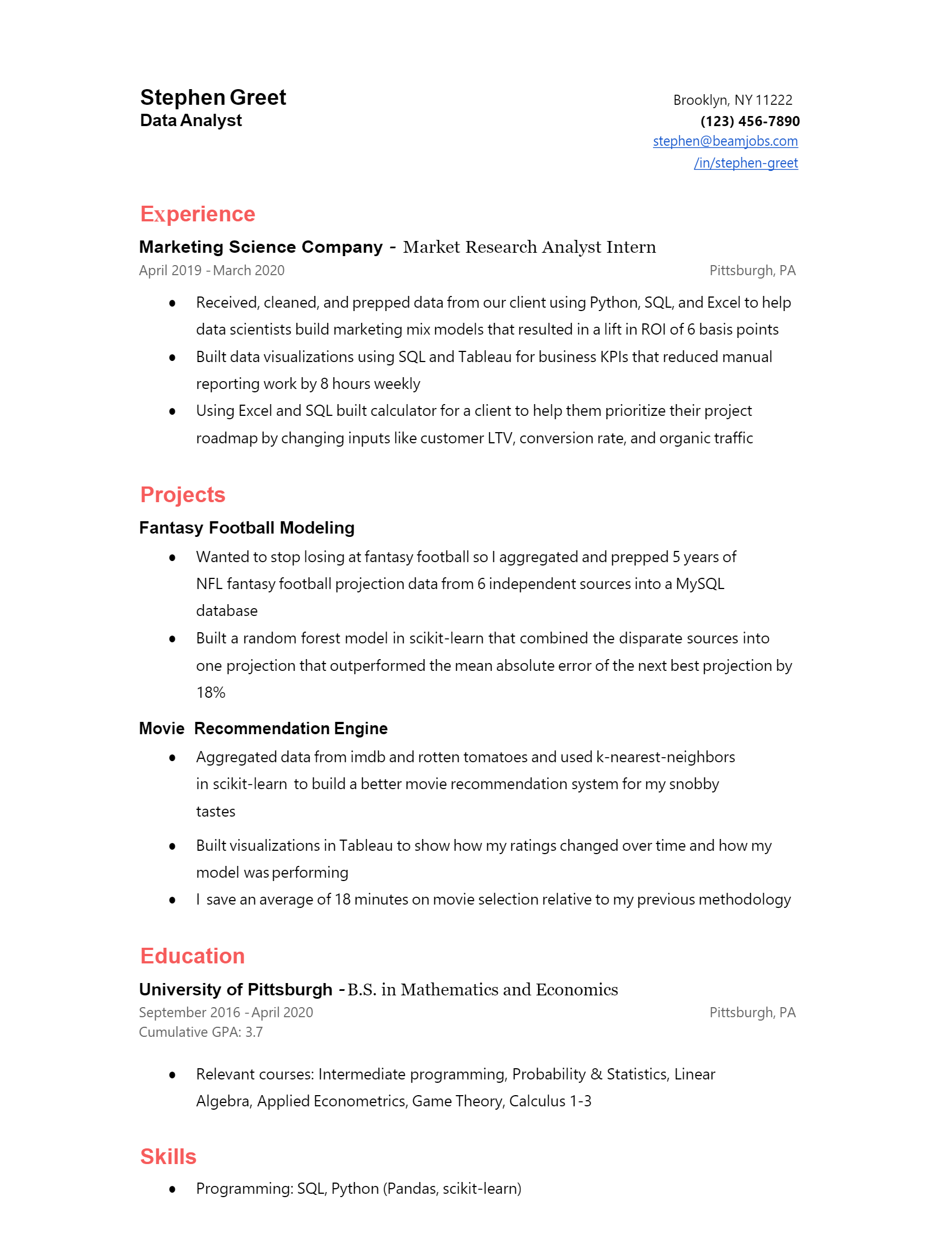Entry Level Data Analyst Resume .Docx (Word)