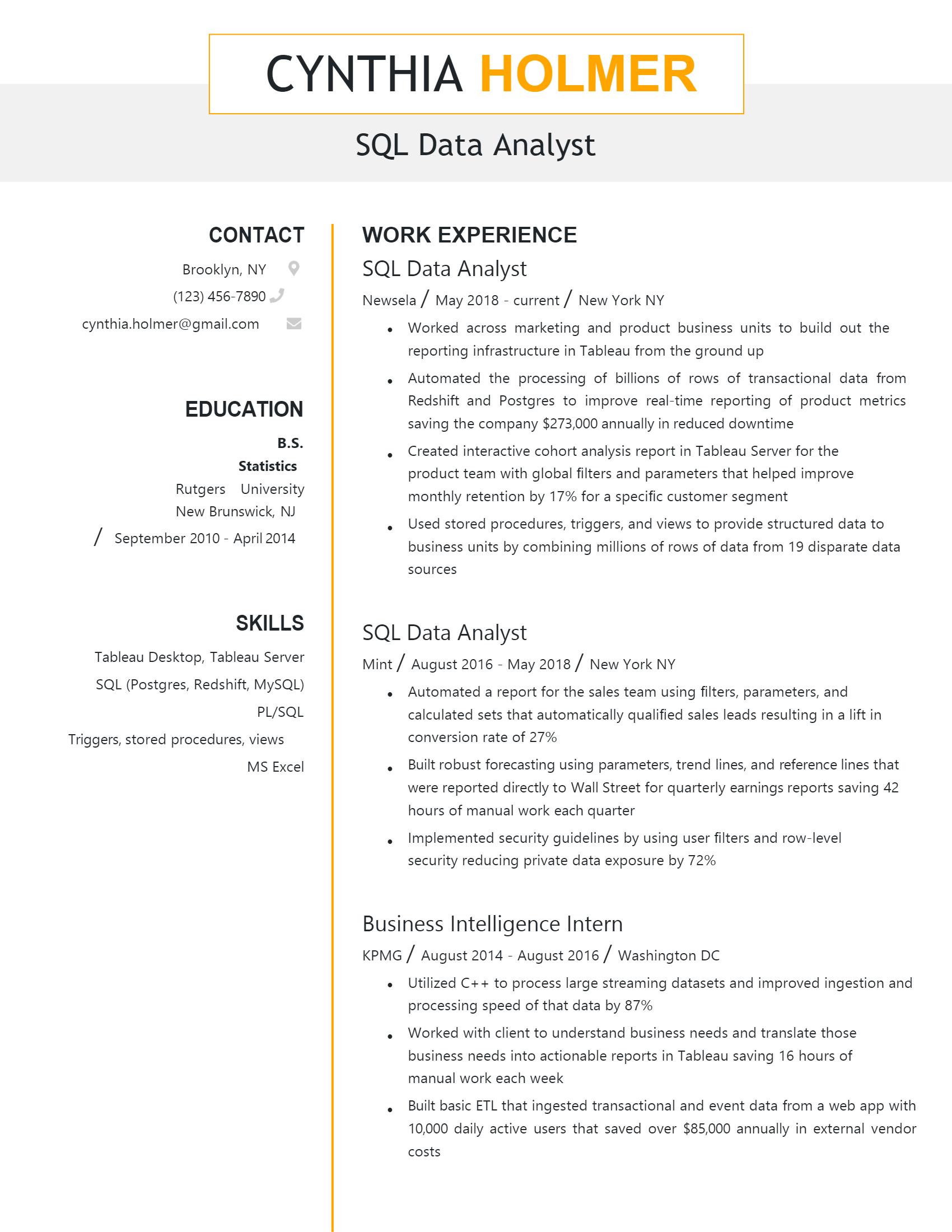 SQL Data Analyst Resume