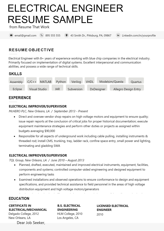 Electrical Engineer Resume .Docx (Word)