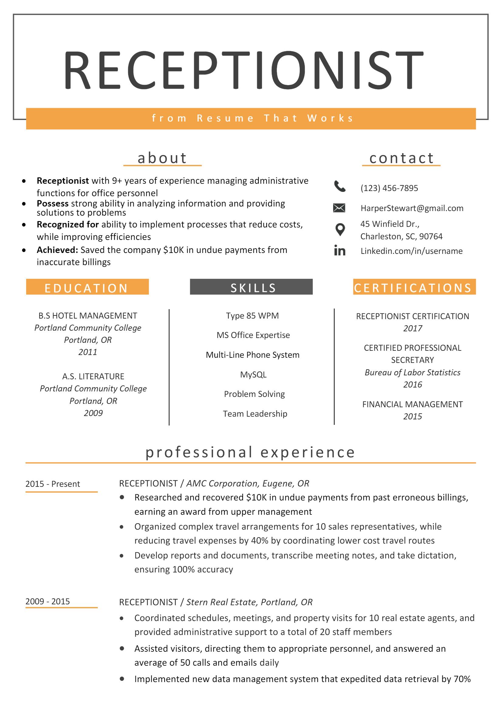 Receptionist Resume