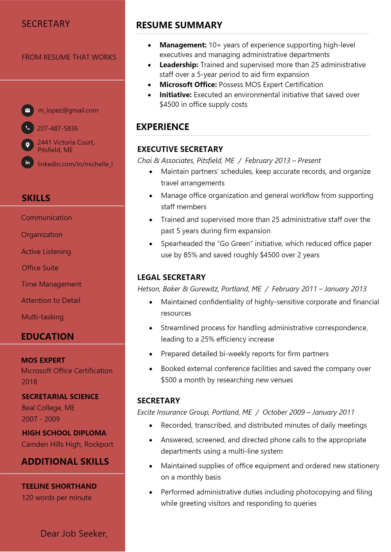 Secretary Resume
