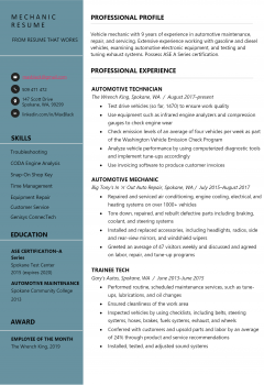 Mechanic Resume .Docx (Word)