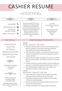 Cashier Resume .Docx (Word)