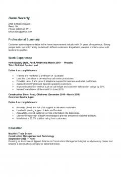 Call Center Agent Resume .Docx (Word)