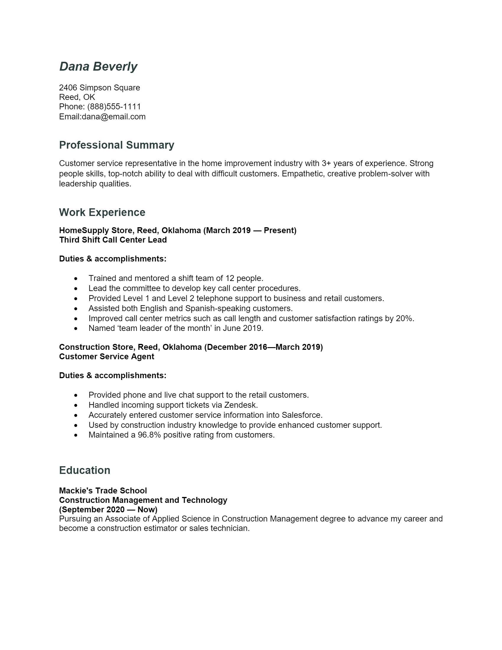 Call Center Agent Resume