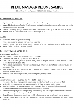 Retail Manager Resume