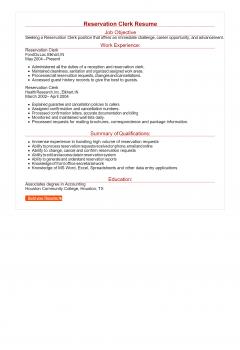 Reservation Clerk Resume > Reservation Clerk Resume .Docx (Word)