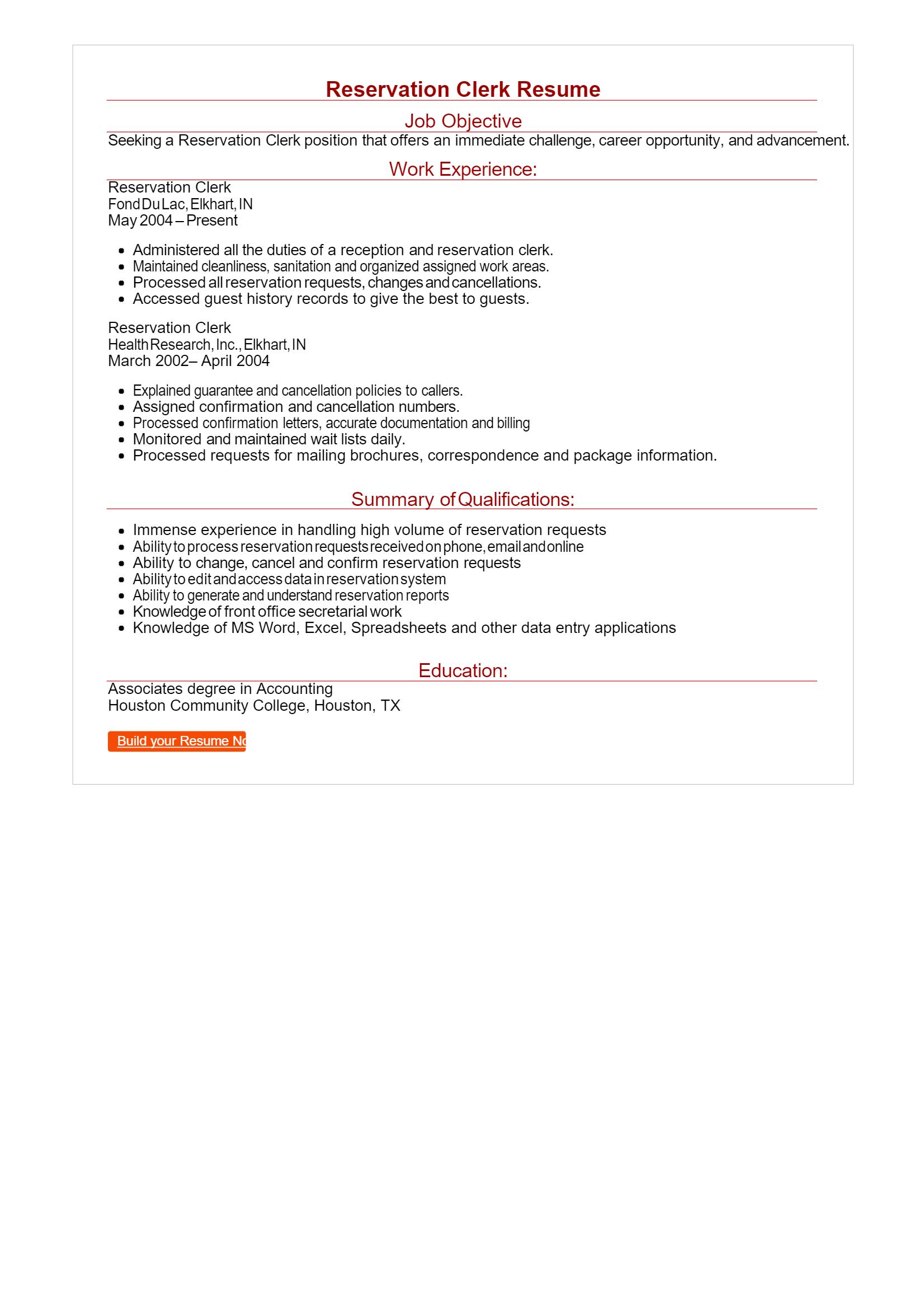 Reservation Clerk Resume