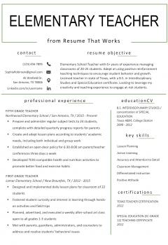 Elementary School Teacher Resume .Docx (Word)