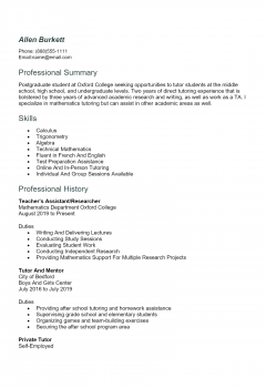 Tutor Resume .Docx (Word)