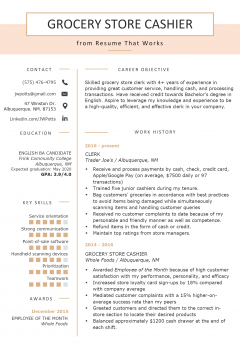 Grocery Store Cashier Resume .Docx (Word)