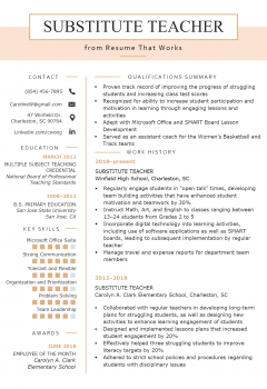 Substitute School Teacher Resume .Docx (Word)