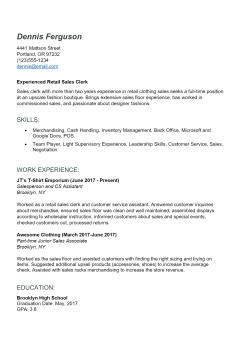 Retail Resume