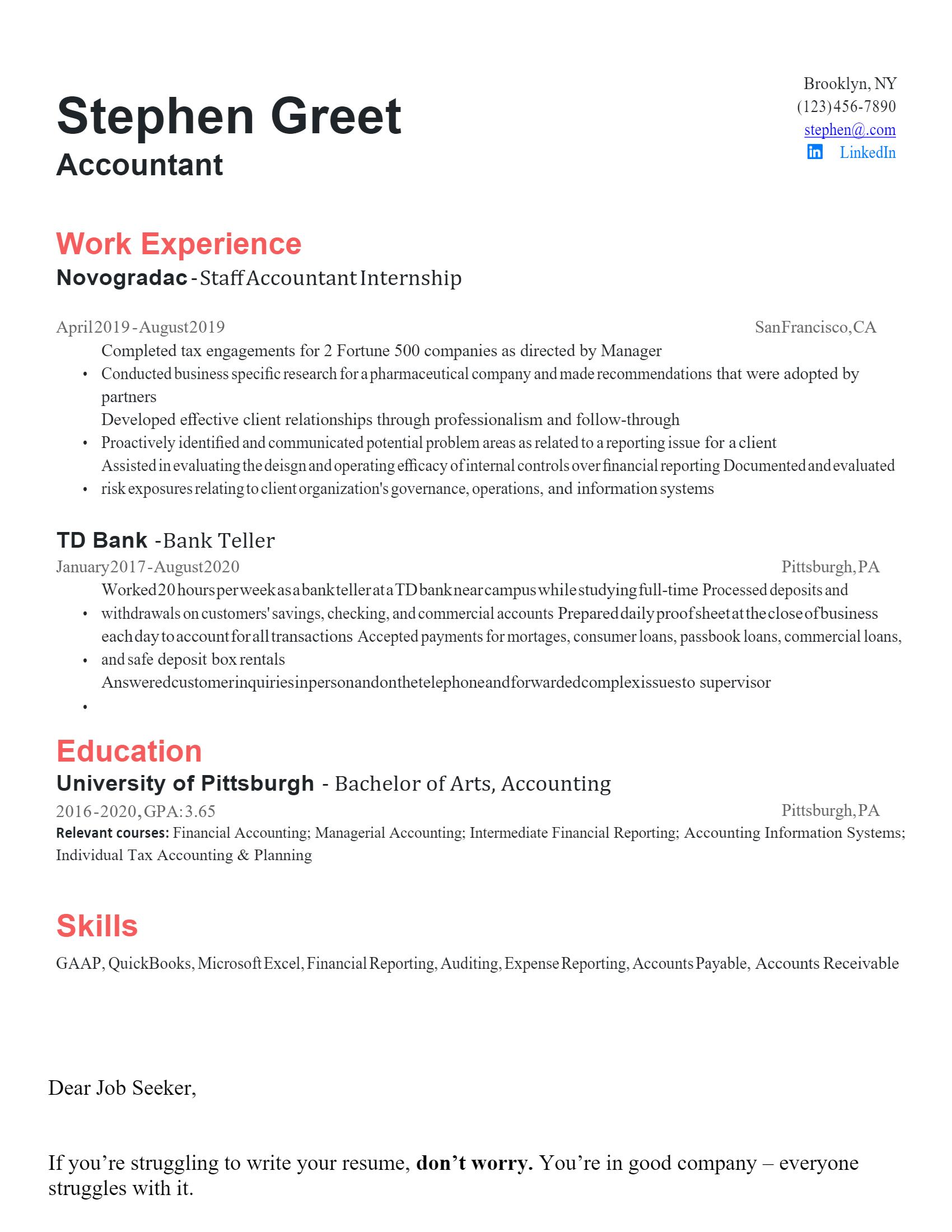 Entry-Level Accountant Resume