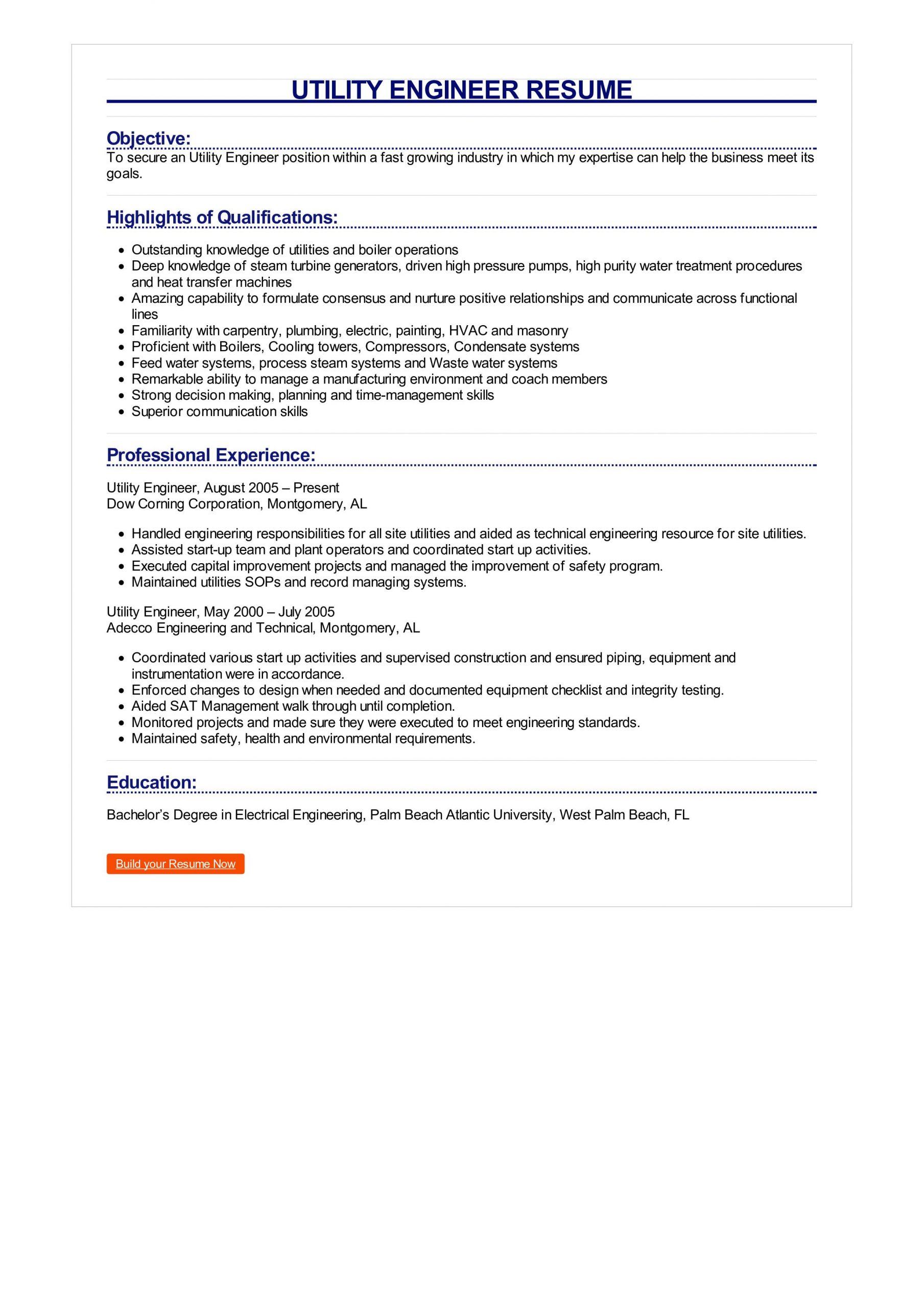 Utility Engineer Resume