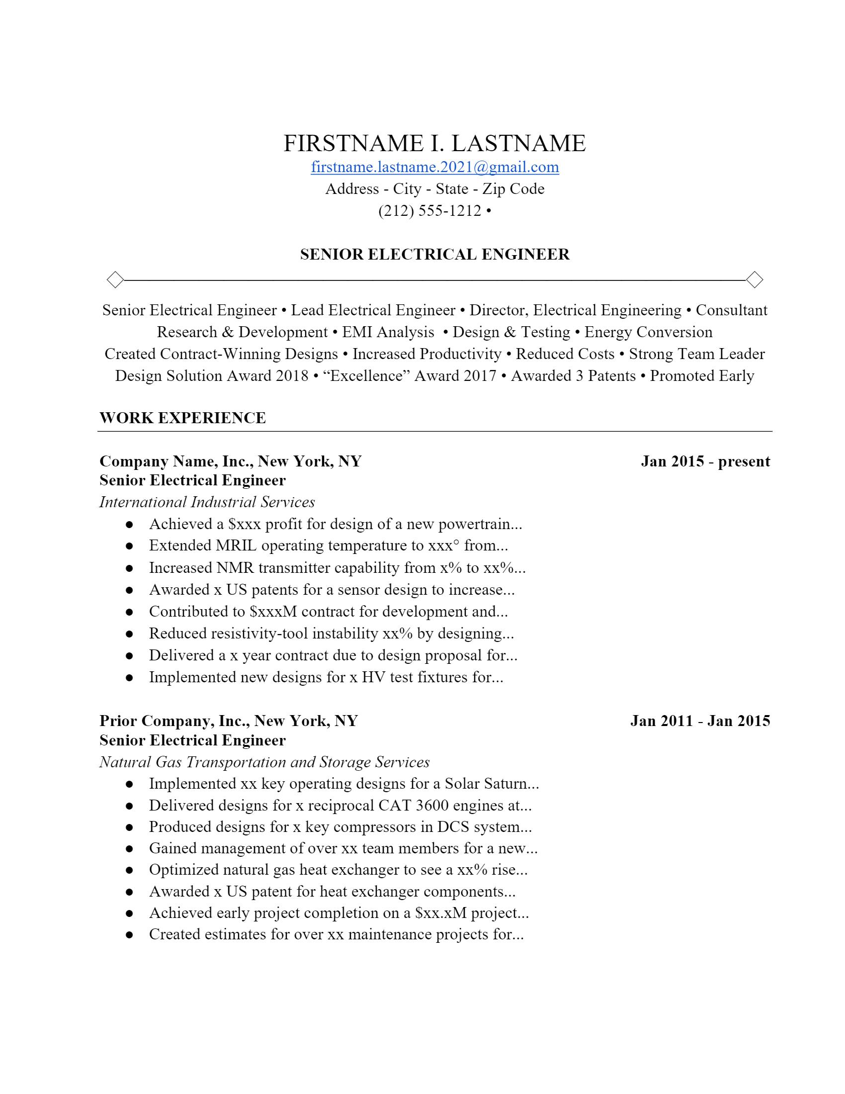 Electrical Engineer Resume > Electrical Engineer Resume .Docx (Word)