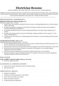 Electrician resume