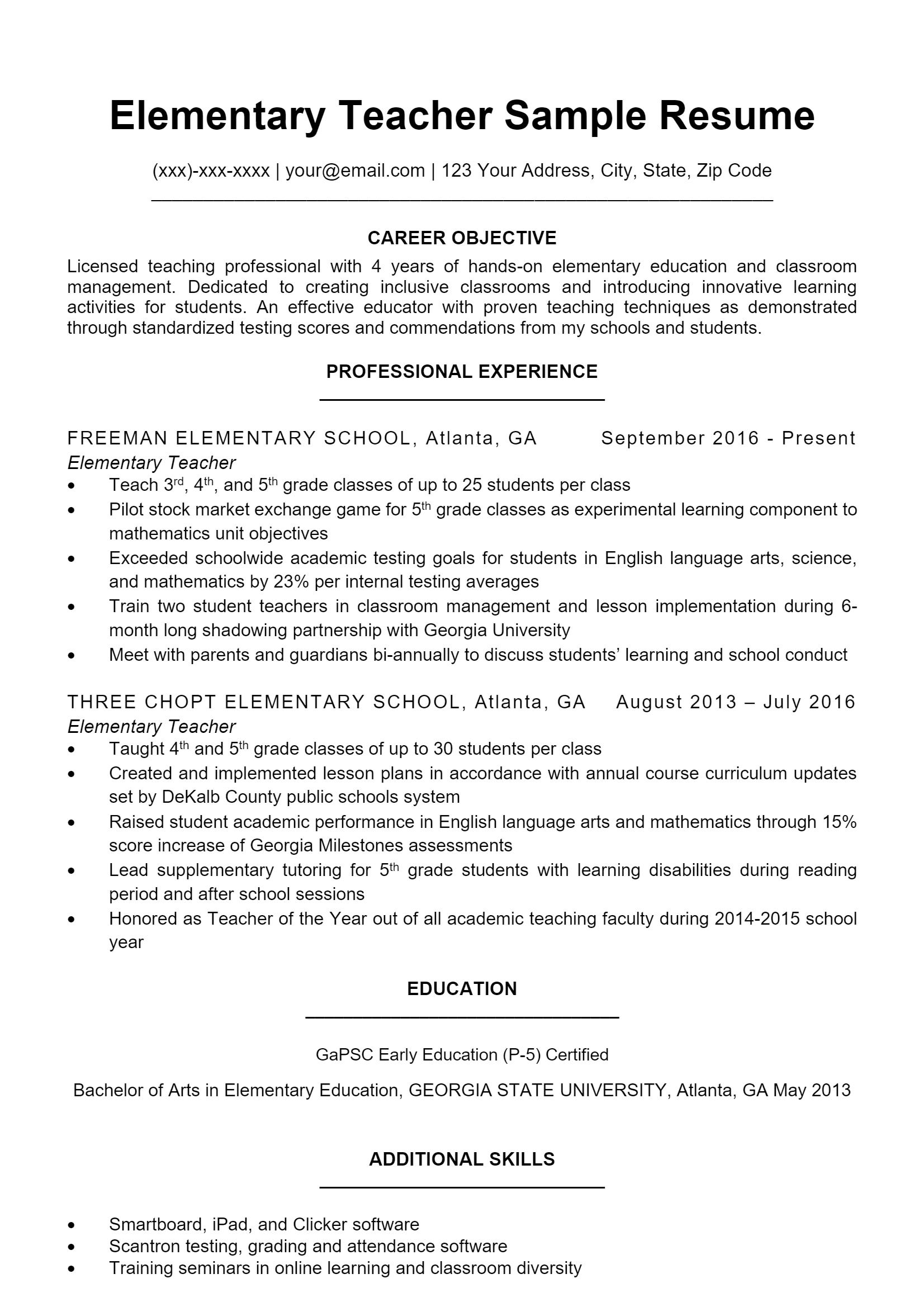 Elementary Teacher Resume > Elementary Teacher Resume .Docx (Word)