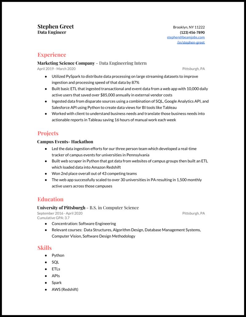 Entry Level Data Engineer Resume Example