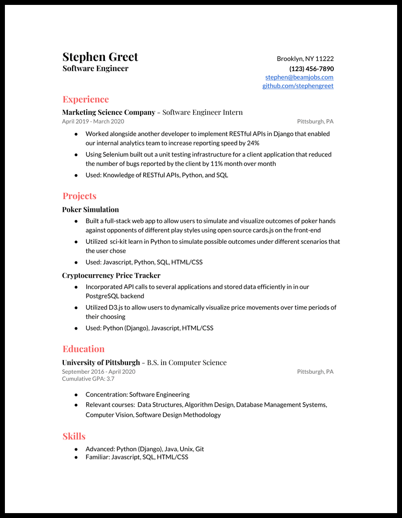 Entry Level Software Engineer Resume Example