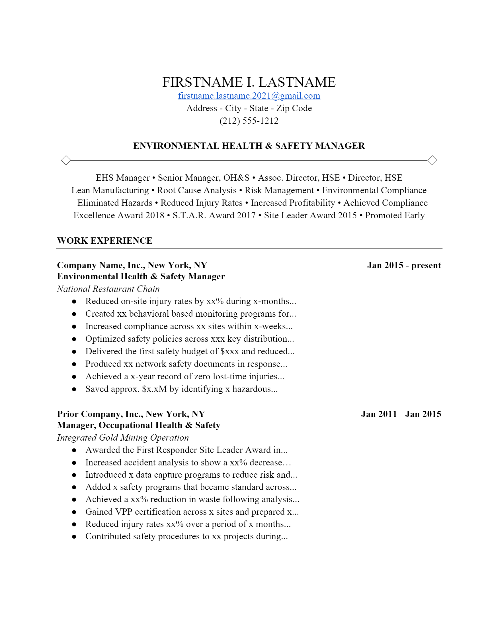 Environmental Manager Resume > Environmental Manager Resume .Docx (Word)