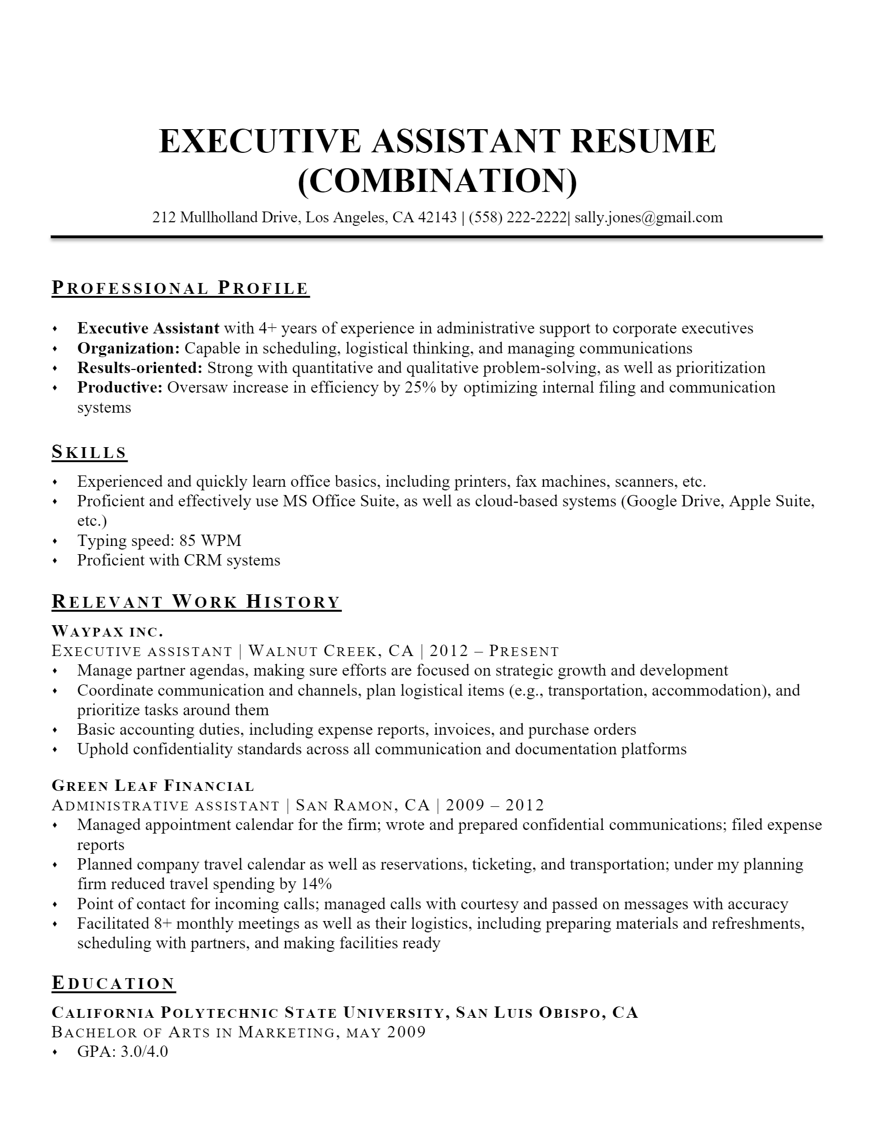 Executive Assistant Resume .Docx (Word)