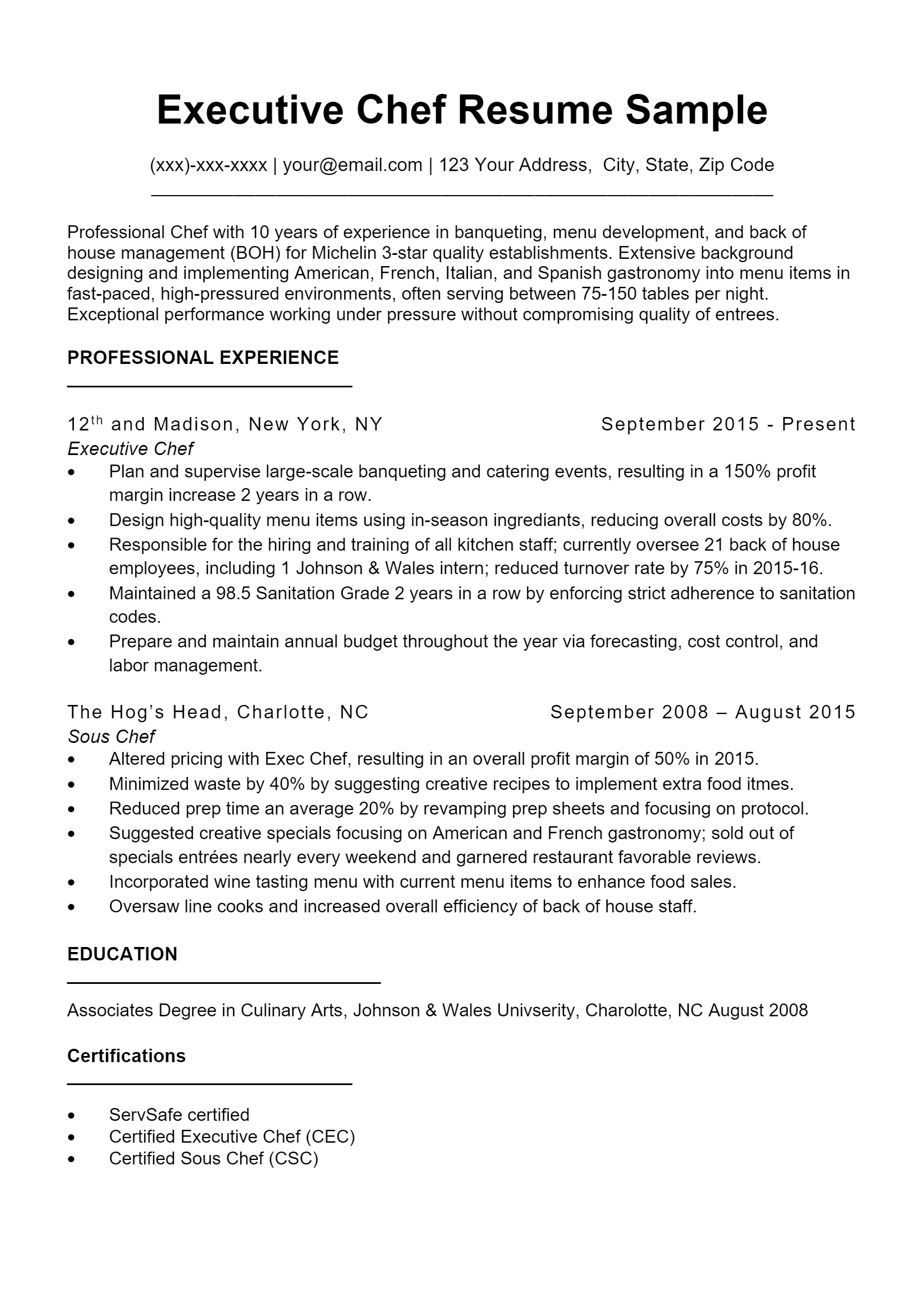 Executive Chef Resume > Executive Chef Resume .Docx (Word)
