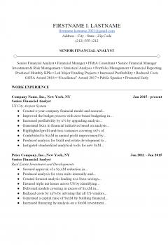 Financial Analyst Resume > Financial Analyst Resume .Docx (Word)
