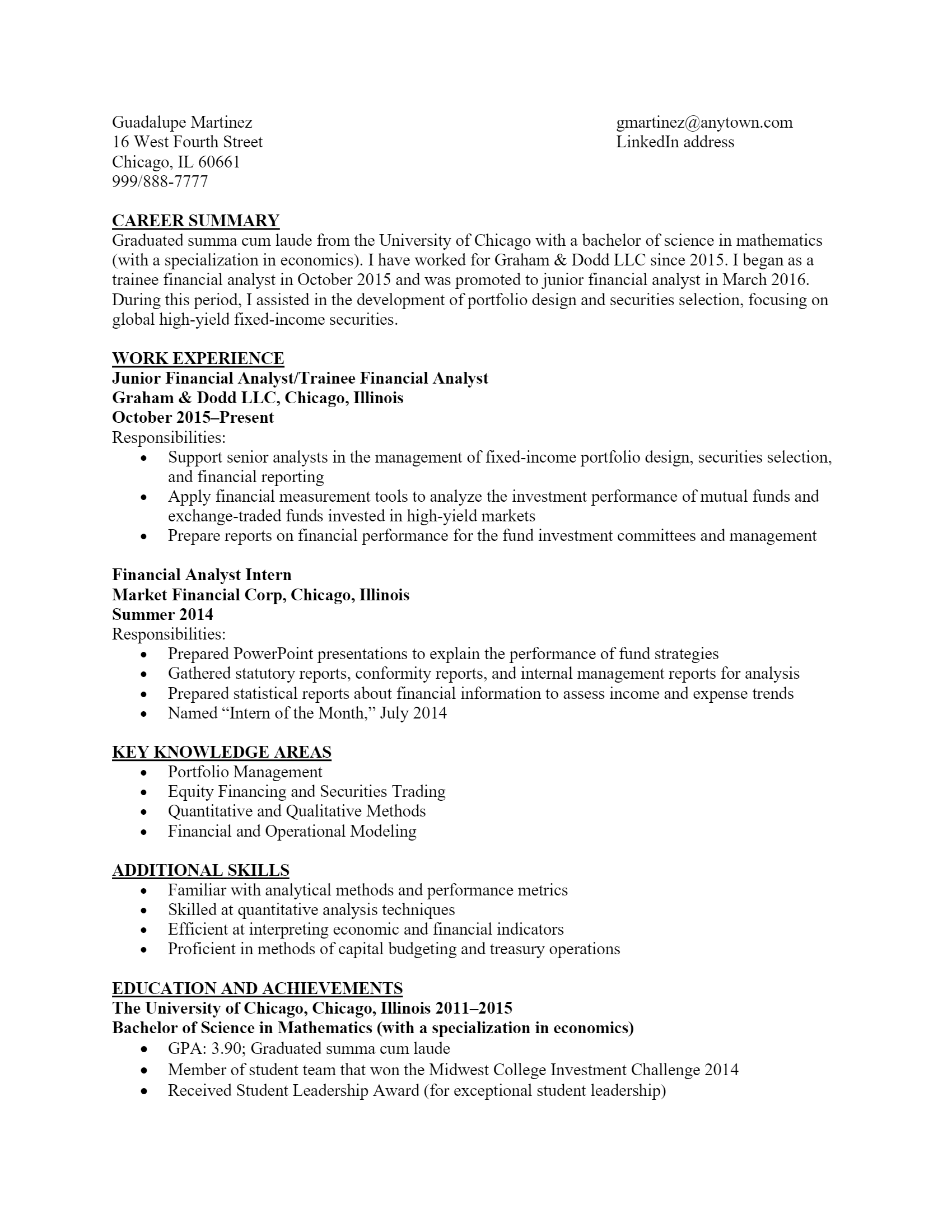Financial Analyst Resume .Docx (Word)