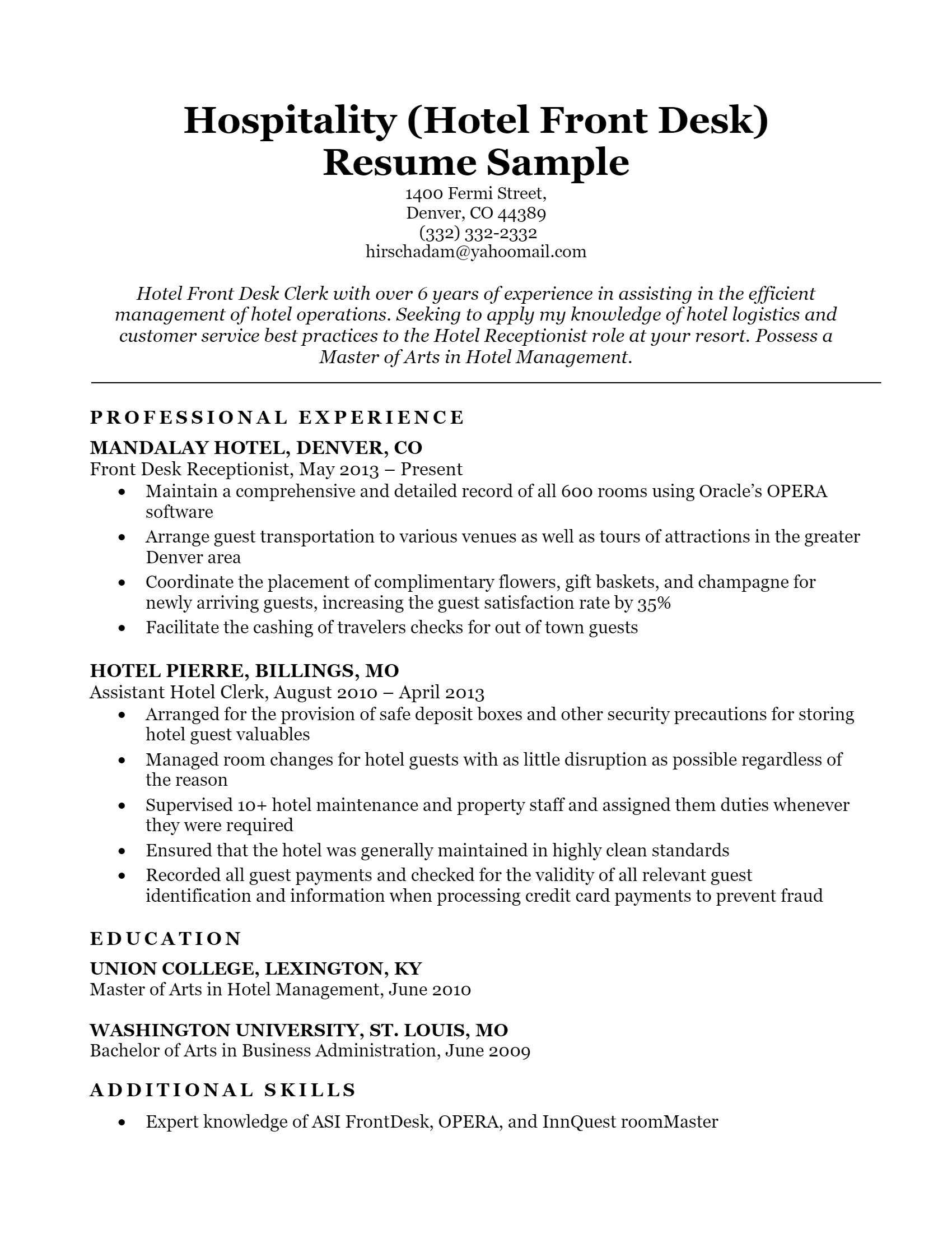 Hotel Front Desk Resume > Hotel Front Desk Resume .Docx (Word)