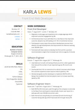 Front End Web Developer Resume Sample
