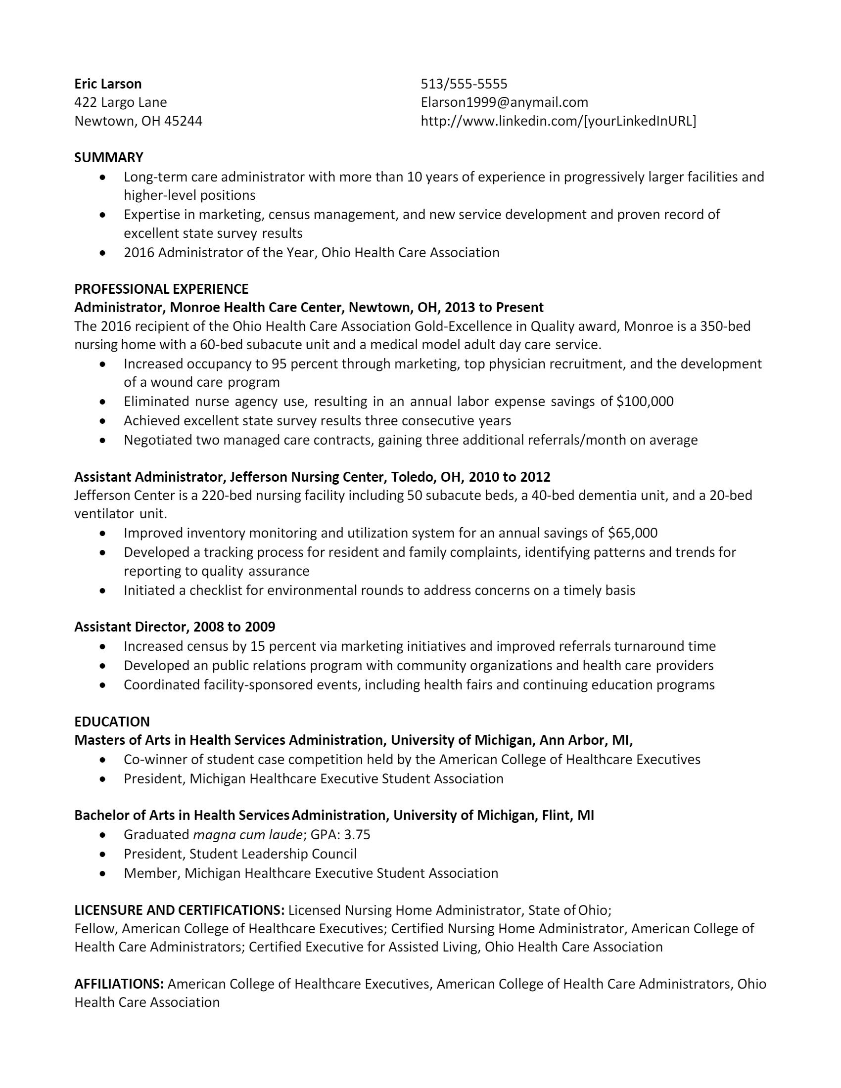 Healthcare Administrator Resume .Docx (Word)
