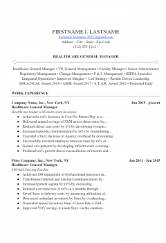 Healthcare Manager Resume