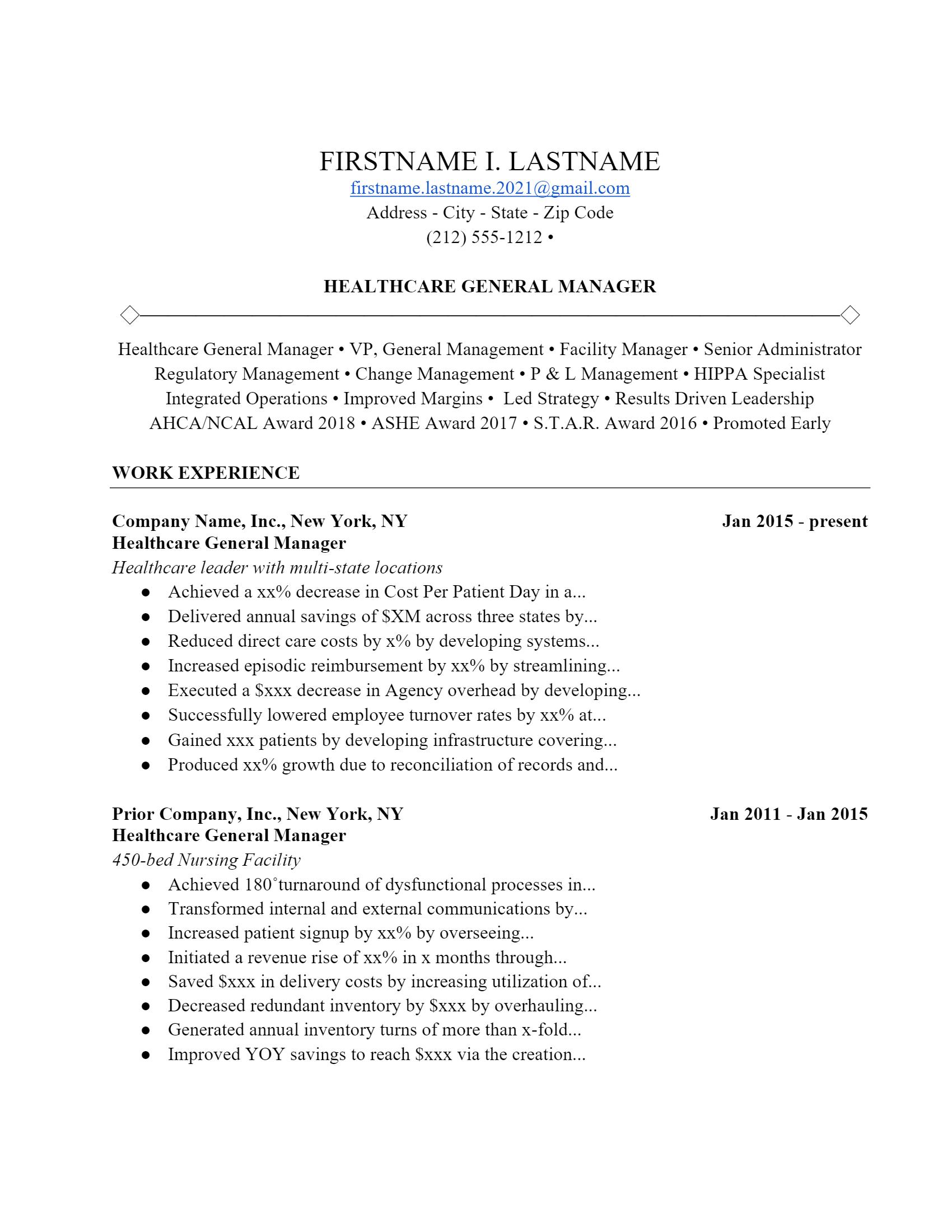 Healthcare Manager Resume > Healthcare Manager Resume .Docx (Word)