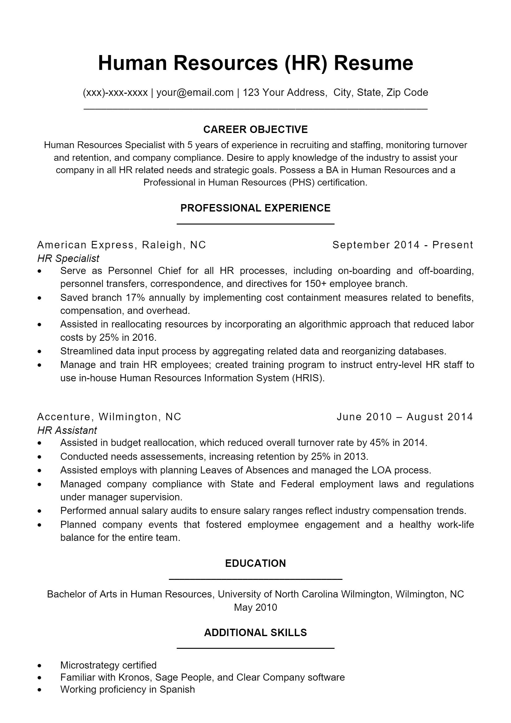 Human Resources Resume > Human Resources Resume .Docx (Word)