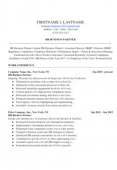 HR Partner Resume