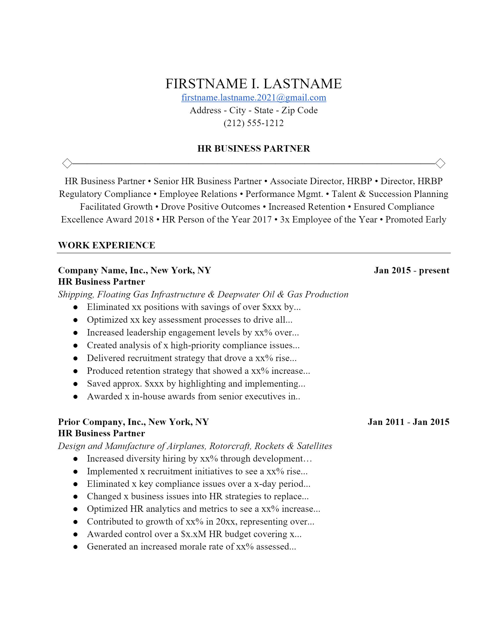 HR Partner Resume > HR Partner Resume .Docx (Word)